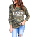 LAZY Letter Camouflage Print Round Neck Pullover Sweatshirt