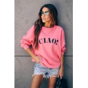 Womens Stylish CIAO Letter Print Long Sleeve Round Neck Pink Pullover Sweatshirt