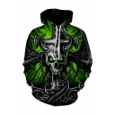 New Fashion Skull 3D Printed Long Sleeve Drawstring Hooded Green Casual Loose Hoodie