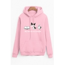 My Needs Are Simple Letter Cat Printed Long Sleeve Pocket Hoodie