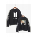 Popular Kpop Cartoon Figure Printed Mock Neck Long Sleeve Pullover Sweatshirt