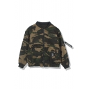 New Arrival Popular Camouflage Print Stand Collar Long Sleeve Embroidery Detail Green Baseball Jacket