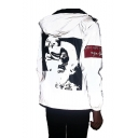 Mens Hot Fashion Reflecting Clown Print Long Sleeve Hooded Zip Up White Jacket