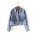 Womens Vintage Studded Lapel Collar Light Blue Ombre Color Denim Jacket