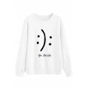 You Decide Letter Smile Face Print Round Neck Long Sleeve Leisure Pullover Sweatshirt