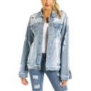 Women Fashionable Plus Size Long Sleeve Denim Cowboy Pockets Jean Jacket