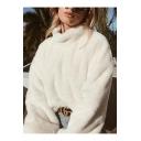 Women's Elegant Standing Collar Faux Fur Oversized Fluffy Sweatshirt