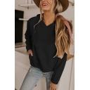 New Stylish Drawstring Hood Plain Long Sleeve Hoodie With Pocket