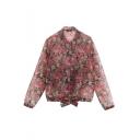 Floral Print Standing Collar Bow Elastic Hem Transparent Zip Jacket