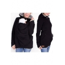 Hot Popular Womens Baby Kangaroo Pocket Stripe Print Zipper Hoodie With Pockets