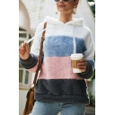 New Fashion Color Block Long Sleeve Fluffy Teddy Hoodie