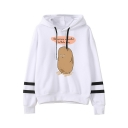 Letter Funny potato Printed Striped Long Sleeve Pullover Hoodie