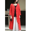 Female Vintage Chinese Style Plain Round Neck Retro Frog Button Front Split-Side Longline Linen Cardigan Coat