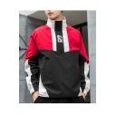 Mens Hot Fashion Stripes Print Stand Collar Raglan Long Sleeve Loose Pullover Jacket