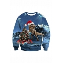 New Fashion Christmas Tree Dog 3D Printed Blue Long Sleeve Round Neck Pullover Sweatshirts