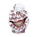 Hot Popular Haha Clown Joker Mouth 3D Printed Long Sleeve White Drawstring Pullover Hoodie