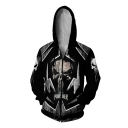 Cool 3D Printed Black Cosplay Costume Long Sleeve Zip Up Hoodie
