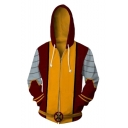 Hot Fashion Colorblock Stripe Pattern Comic Cosplay Costume Red and Yellow Long Sleeve Zip Up Hoodie