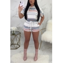 Womens Stylish Stripe Printed Hooded Short Sleeve Tee with Shorts Sport Two-Piece Set