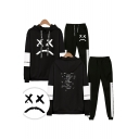 New Fashion Bad Expression Print Casual Long Sleeve Hoodie With Drawstring Sweatpants Two Piece Set