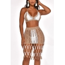 Fashion Sexy Color block Sleeveless Mesh V Neck Halter Cami Elastic Skirts Tassel Hem Two Piece Set