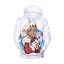 American Popular Actor Wing Dog 3D Printed White Long Sleeve Pullover Hoodie