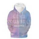 New Fashion Colorblock Letter LOVE YOURSELF 3D Printed Purple and Blue Long Sleeve Pullover Hoodie