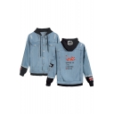 Hot Stylish Comic Dragon Letter Printed Long Sleeve Button Closure Hooded Denim Jacket for Men