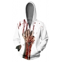 Creative New Fashion Blood Hand 3D Printed Drawstring Hooded Long Sleeve Unisex White Casual Zip Up Hoodie