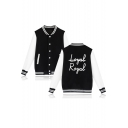 Hot Popular Cool Letter ROYAL Print Rib Stand Collar Long Sleeve Button Down Jacket