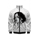 Mens Arrival Cool Black and White Comic Figure Print Stand Collar Long Sleeve Baseball Jacket