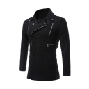 Guys New Stylish Leisure Long Sleeve Lapel Collar Plain Zip Detail Double Breasted Fitted Black Peacoat