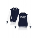 Hot Popular Letter YWVH Print Stand Collar Single Breasted Long Sleeve Baseball Jacket