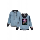 New Stylish Comic Figure Printed Ripped Long Sleeve Single Breasted Hooded Denim Jacket Coat