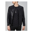 Cool Retro Long Sleeve Stand Collar Zipper Casual Solid PU Moto Jacket For Men
