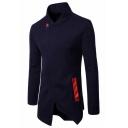 Mens Simple Plain Unique Oblique Zip Up Stand Collar Long Sleeve Longline Fitted Sweatshirt Coat