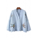 Womens Unique Bird Embroidered Print V Neck Drop Sleeve Boxy Cardigan Coat