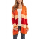 Womens Vigorous Strip Print Drop Sleeve Open Front Cardigan Knitwear