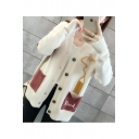 Womens Off-Duty Casual Pencil ROOL Letters Print V-Neck Long Sleeve Cardigan with Pockets