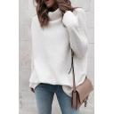 Womens Simple White Plain Half Turtleneck Drop Sleeve Sweater