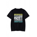 Summer Men's Stylish Funny Letter REGULAR Print Round Neck Short Sleeve Loose T-Shirt