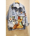Cartoon Rabbit Floral Sequined Appliques Beading Embellished Exaggerated Short Denim Jacket Coat