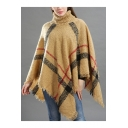Autumn Winter Stripes Print Roll Neck Cape Knitted Sweater for Women