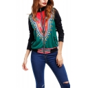 Vintage Tribal Print High Collar Long Sleeve Fitted Jacket Coat for Womens