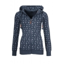 Women New Trendy Floral Printed Drawstring Hooded Long Sleeve Zipper Fitted Coat