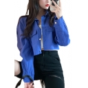 Vintage Solid Color Lapel Collar Single Breasted Chest Pockets Long Sleeve Cropped Jacket