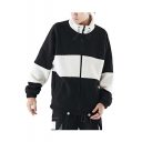 Guys Winter New Stylish Simple Colorblock Print Stand Collar Long Sleeve Loose Fleece Coat