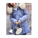 Winter Warm Slim Faux Fur Hooded Long Sleeve Zipper Basic Longline Down Padded Coat