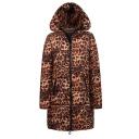 Winter Hot Popular Leopard Print Hooded Longline Zipper Down Coat