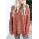 Womens Red Plain Hoodie Boxy Fluffy Knit Long Sleeve Sweater